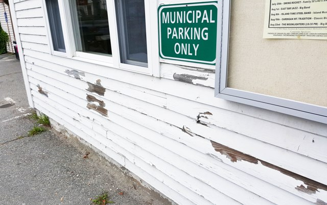 peeling paint at town office