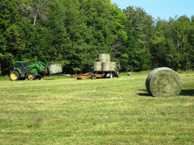 tractor and baled hay